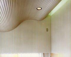 リビング部分桟張り仕上げの壁と天井